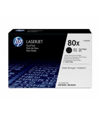 Pack HP 80X de 2 cartouches authentiques de toner LaserJet - Noir grande capacité (CF280XD)