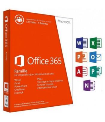 Microsoft Office 365 Famille Premium 32/64 Bits - Licence d'abonnement ( 1 an ) - jusquà 5 PC ou...