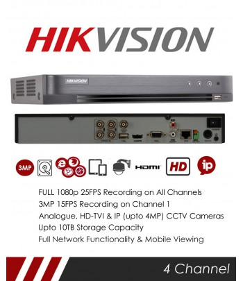 DVR HIKVISION 04 ENTREES TURBO HD 720/1080P
