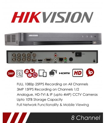 DVR HIKVISION 08 ENTREES TURBO HD 720/1080P